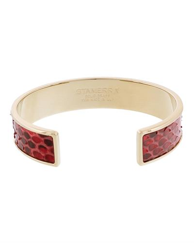Stamerra MEMAN PITTONE RO Brand New Bracelet  Gold brass and  Red Genuine Python Leather
