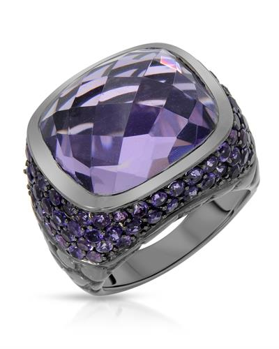 HELLMUTH Brand New Ring with 15.99ctw amethyst 925 Black sterling silver