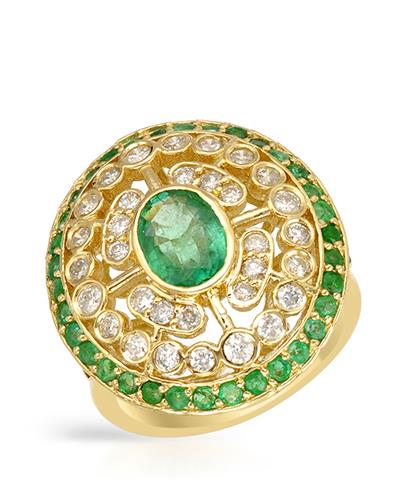 Brand New Ring with 2ctw of Precious Stones - diamond, emerald, and emerald 14K Yellow gold