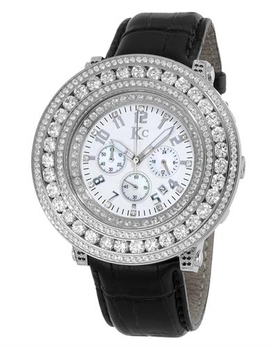 KC WA009401 Brand New Quartz day date Watch with 0ctw of Precious Stones - cubic zirconia and mother of pearl