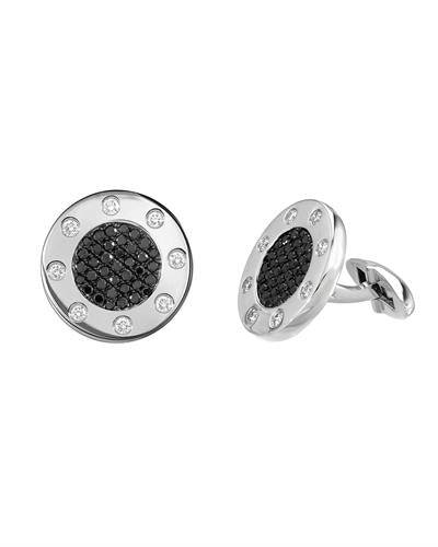 Julius Rappoport Brand New Cuff Links with 1.42ctw of Precious Stones - diamond and diamond 18K White gold