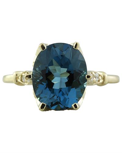 Brand New Ring with 3.41ctw of Precious Stones - diamond and topaz 14K Yellow gold