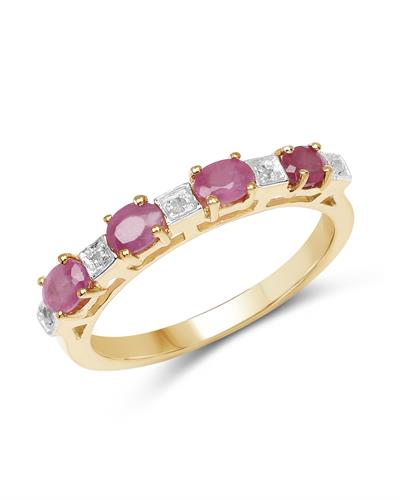 Brand New Ring with 0.91ctw of Precious Stones - diamond and ruby 14K/925 Yellow Gold plated Silver