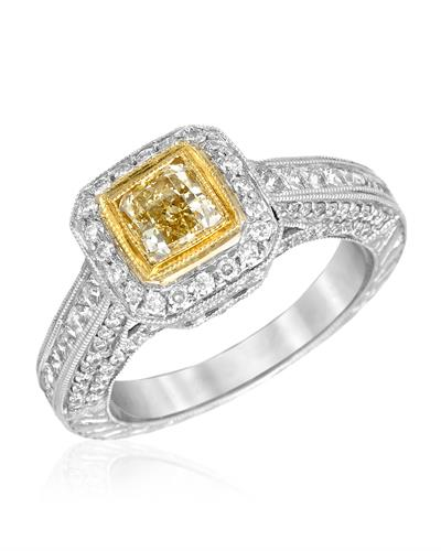 Brand New Ring with 1.74ctw of Precious Stones - diamond, diamond, and diamond 18K Two tone gold