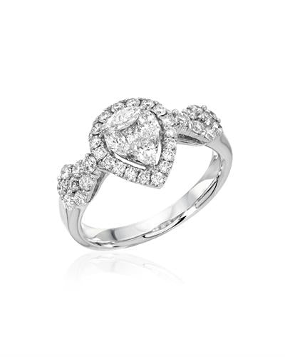 Julius Rappoport Brand New Ring with 1.13ctw diamond 18K White gold