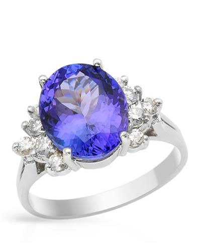 Brand New Ring with 5ctw of Precious Stones - diamond and tanzanite 14K White gold