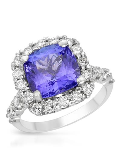 Brand New Ring with 6.6ctw of Precious Stones - diamond and tanzanite 14K White gold