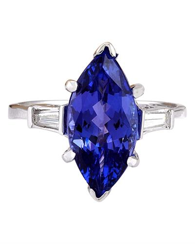 Brand New Ring with 5.3ctw of Precious Stones - diamond and tanzanite 14K White gold