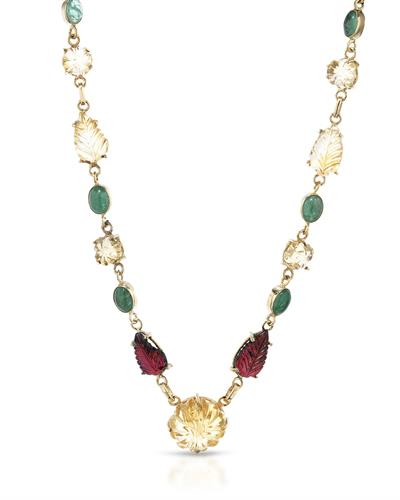 Brand New Necklace with 55.35ctw of Precious Stones - citrine, emerald, and garnet 10K/925 Yellow Gold plated Silver