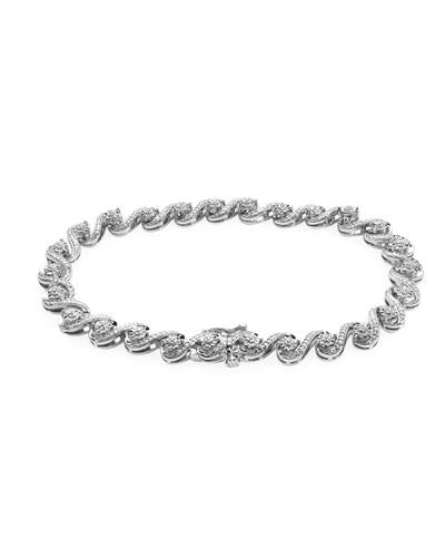Brand New Bracelet with 0.1ctw diamond 925 White sterling silver