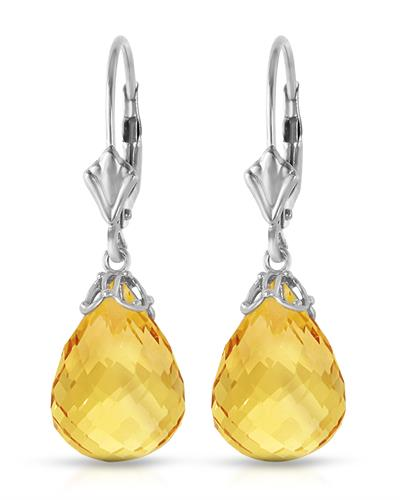 Magnolia Brand New Earring with 14ctw citrine 14K White gold
