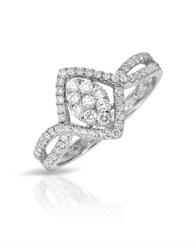Julius Rappoport Brand New Ring with 0.5ctw diamond 18K White gold