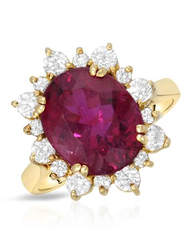 Brand New Ring with 5.85ctw of Precious Stones - diamond and Rubellite 14K Yellow gold