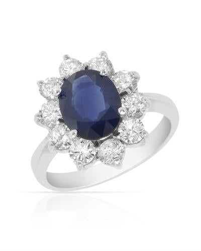 Brand New Ring with 2.8ctw of Precious Stones - diamond and sapphire 14K White gold