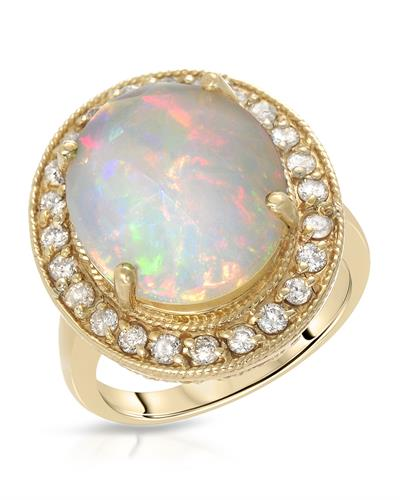 Brand New Ring with 7.23ctw of Precious Stones - diamond and opal 14K Yellow gold