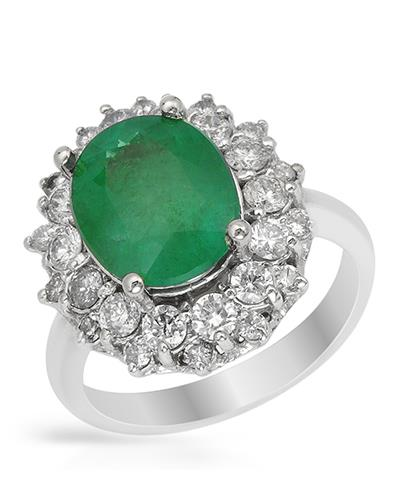 Brand New Ring with 4.28ctw of Precious Stones - diamond and emerald 14K White gold