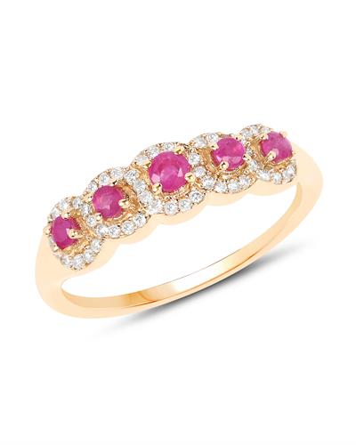 Brand New Ring with 0.46ctw of Precious Stones - diamond and ruby 14K Yellow gold