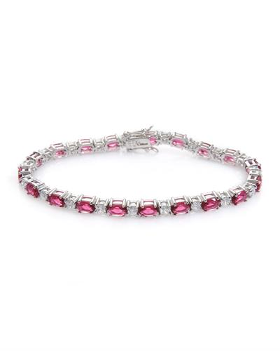 Brand New Bracelet with 13.4ctw of Precious Stones - ruby and sapphire 925 White sterling silver