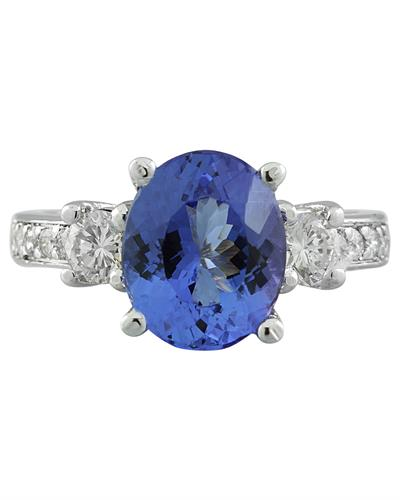 Brand New Ring with 3.95ctw of Precious Stones - diamond and tanzanite 14K White gold