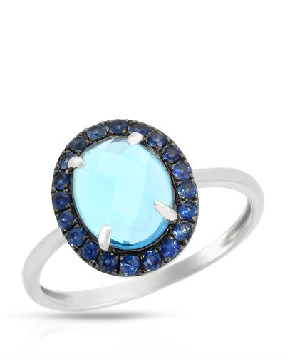 Brand New Ring with 2.52ctw of Precious Stones - sapphire and topaz 14K White gold