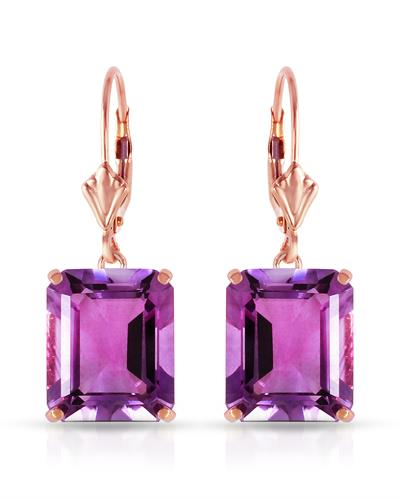 Magnolia Brand New Earring with 13ctw amethyst 14K Rose gold