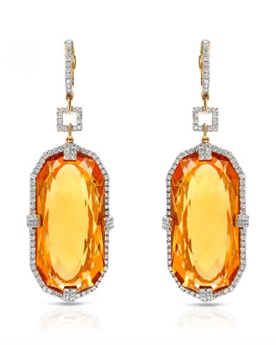 Michael Christoff Brand New Earring with 56.94ctw of Precious Stones - citrine and diamond 14K Yellow gold