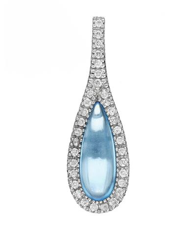 Brand New Pendant with 3ctw of Precious Stones - diamond and topaz 14K White gold