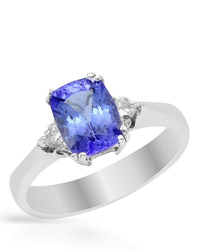 Brand New Ring with 2.11ctw of Precious Stones - diamond and tanzanite 14K White gold