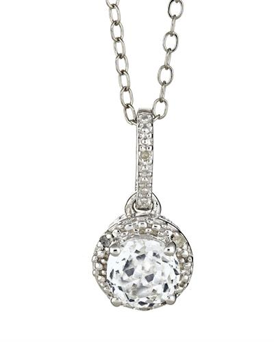 Brand New Necklace with 1.01ctw of Precious Stones - diamond and topaz 925 Silver sterling silver