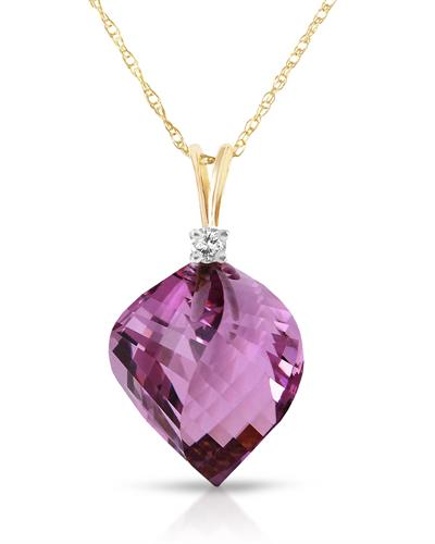 Magnolia Brand New Necklace with 10.8ctw of Precious Stones - amethyst and diamond 14K Two tone gold