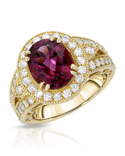 Brand New Ring with 4.39ctw of Precious Stones - diamond and Rubellite 14K Yellow gold