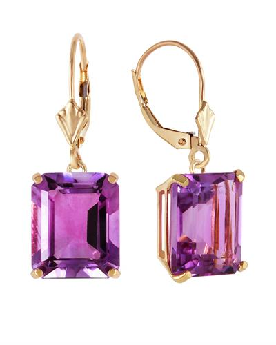 Magnolia Brand New Earring with 13ctw amethyst 14K Yellow gold