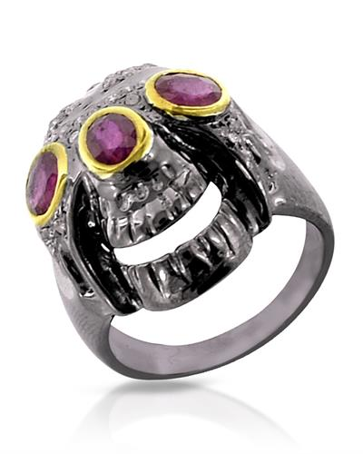 Brand New Ring with 2.26ctw of Precious Stones - diamond and ruby 925 Two tone sterling silver