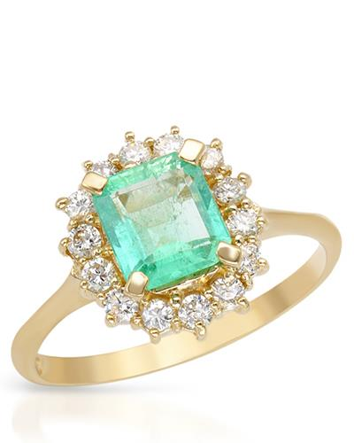 Brand New Ring with 1.65ctw of Precious Stones - diamond and emerald 14K Yellow gold