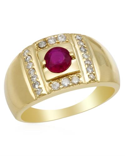 Brand New Ring with 1.45ctw of Precious Stones - diamond and ruby 14K Yellow gold