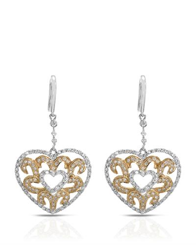 Brand New Earring with 0.86ctw diamond 14K Two tone gold