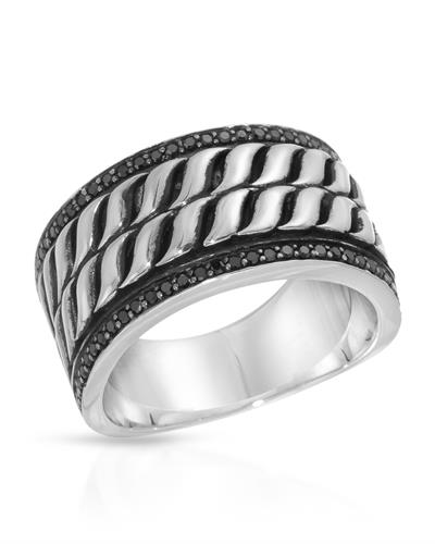 Currency Brand New Ring with 0.31ctw diamond 925 Two tone sterling silver
