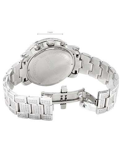 Techno Com WKF1100 Brand New Quartz date Watch with 8ctw of Precious Stones - diamond, diamond, and mother of pearl