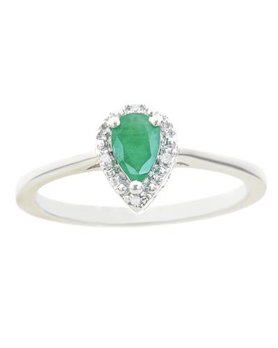 Brand New Ring with 0.41ctw of Precious Stones - diamond and emerald 925 Silver sterling silver