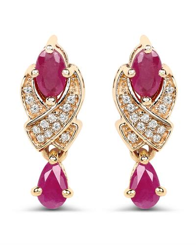 Brand New Earring with 1.12ctw of Precious Stones - diamond and ruby 14K Yellow gold