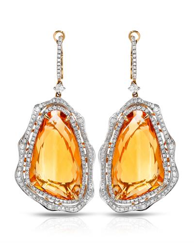 Michael Christoff Brand New Earring with 38.02ctw of Precious Stones - citrine and diamond 14K Yellow gold