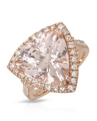 Brand New Ring with 9.34ctw of Precious Stones - diamond and morganite 14K Rose gold
