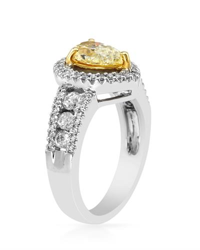 Brand New Ring with 1.63ctw of Precious Stones - diamond and diamond 18K Two tone gold