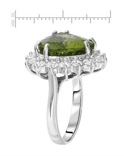 Lundstrom Brand New Ring with 11.29ctw of Precious Stones - diamond and peridot 14K White gold