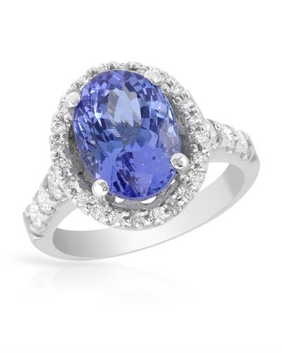 Brand New Ring with 5.52ctw of Precious Stones - diamond and tanzanite 14K White gold