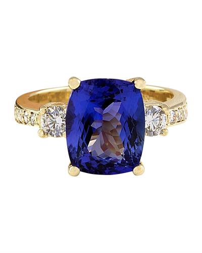 Brand New Ring with 5.65ctw of Precious Stones - diamond and tanzanite 14K Yellow gold