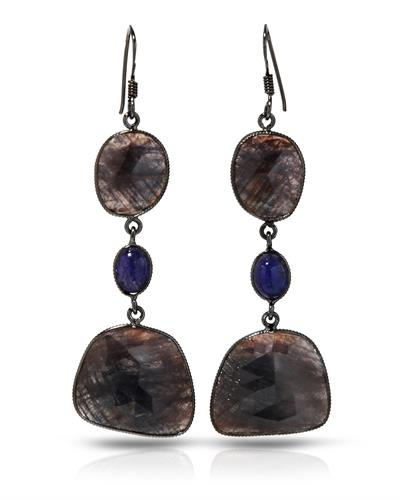 Brand New Earring with 52.05ctw of Precious Stones - sapphire and tanzanite 925 Black sterling silver