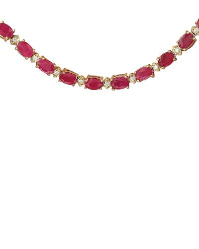 Brand New Necklace with 30.75ctw of Precious Stones - diamond and ruby 14K Yellow gold
