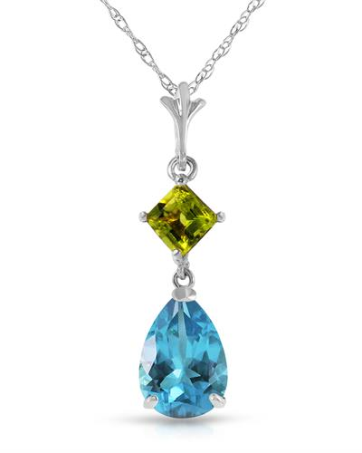 Magnolia Brand New Necklace with 2ctw of Precious Stones - peridot and topaz 14K White gold