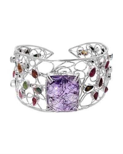 Brand New Bracelet with 65.54ctw of Precious Stones - amethyst and tourmaline 925 Silver sterling silver
